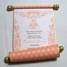 Scroll Birthday Invitations Paper Scroll Invitations For Princess Birthday Party In Mango And