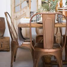 armless metal dining chairs. a copper or brass industrial dining chair armless metal chairs
