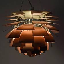 beautiful artichoke light iconic pendant lamp with solid copper leaves very light pink enamel paint under