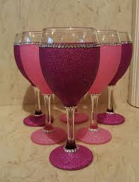 6 pink glitter wine gl