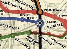tube office. post office station on a 1908 tube map the blue central london railway line