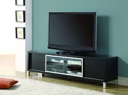 flat screen tv cabinet. Black Painted Oak Wood Wide Screen Tv Stand Mixed Light Blue Wall Throughout Flat Cabinet A