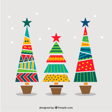 Geometric And Colorful Christmas Trees Vector Free Download