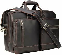 polare full grain leather 16 5 expandable business briefcase laptop travel bag
