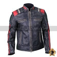 men s vintage motorcycle cafe racer biker retro black distressed leather jacket