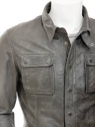 mens grey leather shirt jacket salamanca side