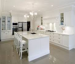 white kitchen lighting. Kitchen. Opulent White Open Kitchen Design With Crystal Chandelier Ceiling Lights And Lighting