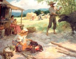 a 1954 amorsolo oil painting depicts philippine village life