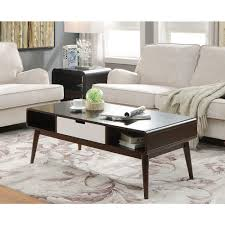 Walnut Living Room Furniture Acme Furniture Christa White And Walnut Storage Coffee Table 82850