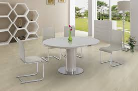 High Gloss Dining Table Round Cream Glass High Gloss Dining Table 6 Chairs Homegenies