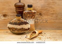Decorative Pepper Bottles Decorative Glass Bottles Filled Layers Natural Stock Photo 98