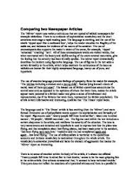 comparing two newspaper articles a level media studies marked page 1 zoom in
