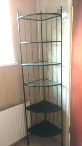 black glass shelving unit glass shelf unit corner tall black metal shelves for bathroom road area black glass shelving unit
