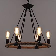 baycheer rustic rope chandeliers 25 inch industrial chandeliers pendant light lighting fixture 6 lights from baycheer