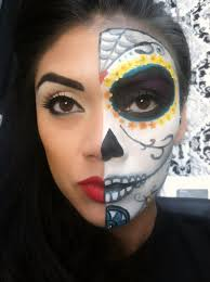 half face sugar skull halloween makeup