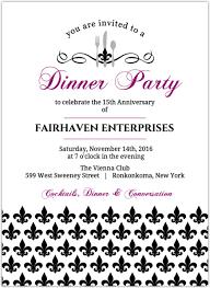Black And Purple Invitations Black And Purple Fleur De Lis Dinner Party Invitation