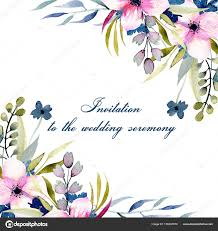 Greeting Card Samples Greeting Card Template Watercolor Pink Blue Wildflowers