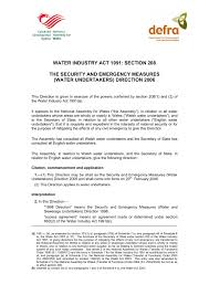Water Industry Act 1991 Section 208 The Security And Pages 1