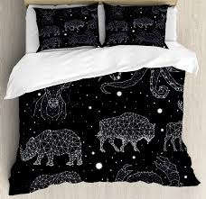 blue and white duvet cover set constellation deer bison elephant rhinoceros crab elephant octopus decorative bedding set with pillow shams