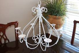 old wrought iron chandeliers with candle holder painted with white color for small dining room lighting ideas