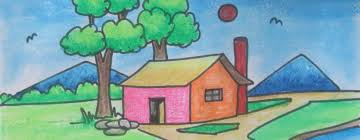 how to draw beautiful village scenery