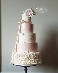 Ruffles Cake Design Five Tier Pink And Ivory Ruffles Wedding Cake With Blush R