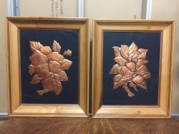 mid century framed copper wall art