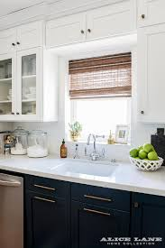 Navy Lower Kitchen Cabinets With Long Brass Pulls Transitional Gorgeous White Cabinets And Backsplash Collection