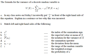 Variance Formula Solved The Formula For The Variance Of A Discrete Random