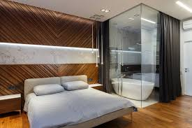 modern bedroom with bathroom. Alexander Angelovskiy Modern Bedroom With Glass Walls To The Bathroom O
