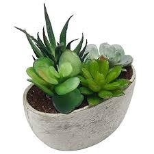 Decorative Artificial Succulent Plant Arrangement with Oval Gray Pot