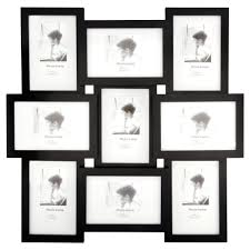 wilko 6 x 4 inch 9 multi aperture black photo frame image