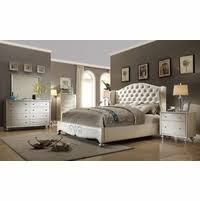 white king bedroom sets. Pearl White Tufted Wing Back Bed Faux Croc Bedroom Furniture Set King Sets