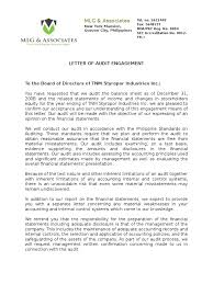 A 2 5 Letter Of Confirmation Of The Engagement Audit Financial
