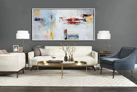 original extra large wall art horizontal palette knife contemporary art panoramic canvas painting bedroom wall decor