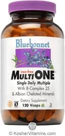 Bluebonnet Kosher <b>MultiOne Single Daily</b> Multiple Iron Free 120 ...