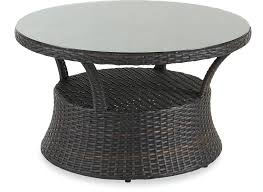 Anchor the living room with a modern coffee table. Outdoor Patio San Lucas 42 In Round Aluminum Woven Outdoor Wicker Glass Top Conversation Table