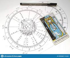 Astrology Natal Chart Tarot Card The High Priestess Stock