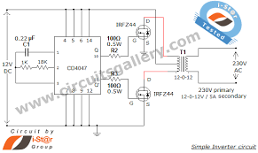 simple low power inverter circuit 12v dc to 230v or 110v ac simple low power inverter circuit 12v dc to 230v or 110v ac diagram using cd4047 and irfz44 power mosfet gallery of electronic circuits and projects