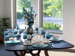 blue dining room furniture. White Cheramic Centerpiece Ideas For Dining Room Table Two Lamp Using Gray Tablecloth Green Wall Wood Floor Floral Pattern Blue Furniture M
