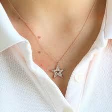 star necklace diamond gold star