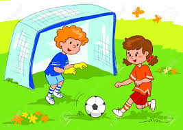 playing cartoon cartoon boy and girl playing football digital illustration stock
