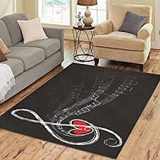 InterestPrint Music Note With Love Black And White Polyester Area Rug Cover  7' x 5
