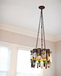 amazing chandelier made with wine bottles