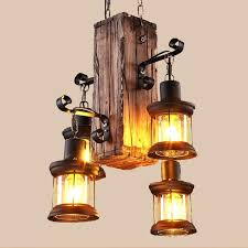 loft creative wooden chandelier retro restaurant bar industrial hanging light indoor lights cool