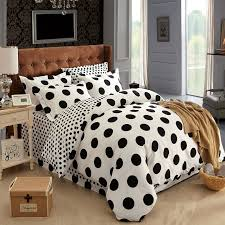 black and white polka dot bedding set 100 cotton new duvet cover set linen modern style queen and full size 179