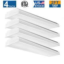 24 Led Light Fixture Details About 4 Pack 24 Flourescent Light Fixture 20w Flush Mount Led Garage Lights Ceiling