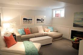 Bright basement - lots of light colours to brighten up the basement units.  Like The