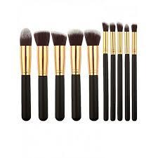 10 pieces professional kabuki makeup brush set black
