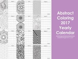 Abstract Adult Coloring 2017 Calendar Free Printable Redefining Mom